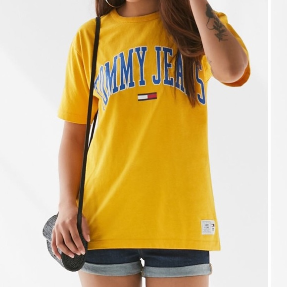Tommy Hilfiger Jeans Collegiate Logo T Shirt Yellow